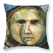 Faced With Blue Throw Pillow