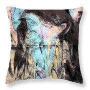 Faceless Girl With Her Crow Throw Pillow