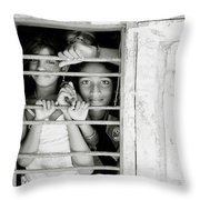 Faces At The Window Throw Pillow