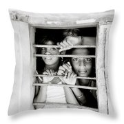 Faces In The Window Throw Pillow