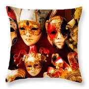 Faces Of Carnavale Throw Pillow