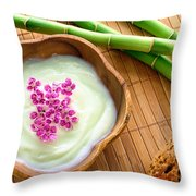 Facial Cream In Wood Bowl Throw Pillow