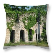 Abandoned Casket Factory Throw Pillow