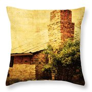 Faded Building Throw Pillow