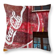 Faded Coca Cola Mural 1 Throw Pillow