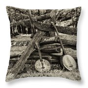 Faded Country Time Banjos Throw Pillow