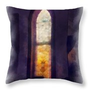 Faded Purple Stained Glass Window Photo Art Throw Pillow