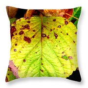 Fading Hydrangea Leaf Throw Pillow