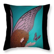 Faerie And Butterfly Throw Pillow