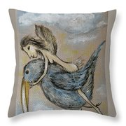 Faery And The Stork - Prints Throw Pillow