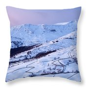 Fairfield Covered In Snow At Sunset Throw Pillow