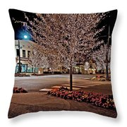 Fairhope Ave With Clock Night Image Throw Pillow