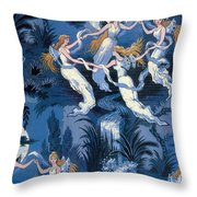 Fairies In The Moonlight French Textile Throw Pillow