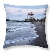 Fairport Harbor Breakwater Lighthouse Throw Pillow