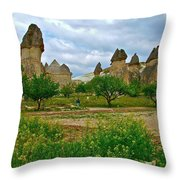 Fairy Chimneys In Cappadocia-turkey Throw Pillow