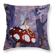 Fairy On A Mushroom Throw Pillow