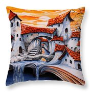 Fairy Tale City - Magic Stream Throw Pillow