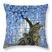 Fairy Under Blue Blossom Throw Pillow