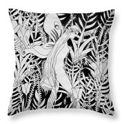 Fairy Walks In Flowers Throw Pillow