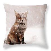 Fairytale Fox _ Red Fox In A Snow Storm Throw Pillow