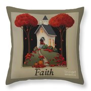 Faith Country Church Throw Pillow