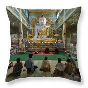 faithful Buddhists praying at sitting Buddha in golden Ponnya Shin Pagoda Throw Pillow