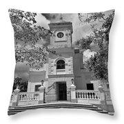 Fajardo Church And Plaza B W 3 Throw Pillow
