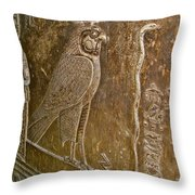 Falcon Symbol For Horus In A Crypt In Temple Of Hathor In Dendera-egypt Throw Pillow