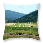Falkland Hay Bales Throw Pillow