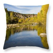 Fall Along River Sierra Ancha Throw Pillow