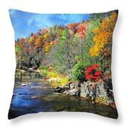 Fall Along The Linville River Throw Pillow