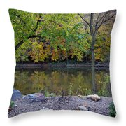 Fall Along The Scioto River Throw Pillow