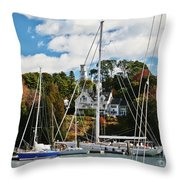 Fall And The Sailboats Throw Pillow