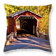 Fall At Kurtzs Mill Covered Bridge Throw Pillow