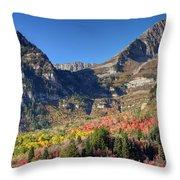 Fall At Mt. Timpanogos From Sundance - Utah  Throw Pillow