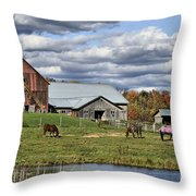 Fall At The Horse Farm Throw Pillow