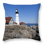 Fall At The Lighthouse Throw Pillow