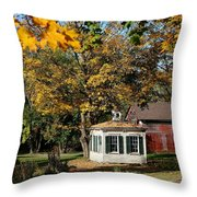 Fall Barn Throw Pillow