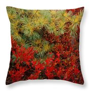 Fall Blueberries And Pine-sq Throw Pillow