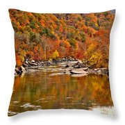 Fall Brilliance At New River Throw Pillow