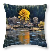 Fall Brilliance On Warm River Throw Pillow