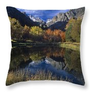 Fall Color And Reflection Below Middle Palisades Glacier California Throw Pillow
