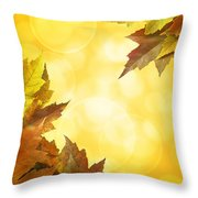 Fall Color Maple Leaves Background Border Throw Pillow