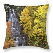 Fall Color Surrounds Chapel Falls On The Michigan Upper Peninsula Throw Pillow