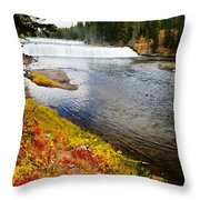 Fall Colors And Waterfalls Throw Pillow