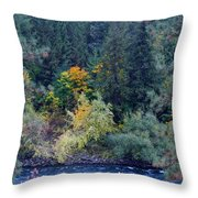 Fall Colors By The Spokane River Throw Pillow