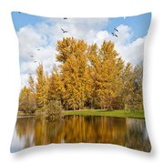Fall Colors Clouds And Western Gulls Reflected In A Pond Throw Pillow