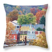 Fall Colors In Columbia Pennsylvania Throw Pillow