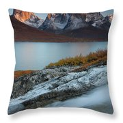 Fall Colors In Tasermiut Fiord Throw Pillow