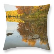 Fall Colors On Taylor Pond Mount Vernon Maine Throw Pillow by Keith Webber Jr